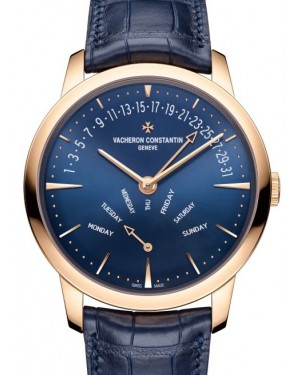 Vacheron Constantin Patrimony Retrograde Day-Date Rose Gold Blue Index Dial & Leather Strap 4000U/000R-B516 - BRAND NEW