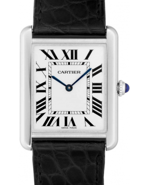 Cartier Tank Solo W5200003 Men's White Roman Stainless Steel Black Leather BRAND NEW