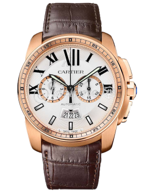 CARTIER W7100044 CALIBRE DE CARTIER CHRONOGRAPH 42mm Pink Gold BRAND NEW