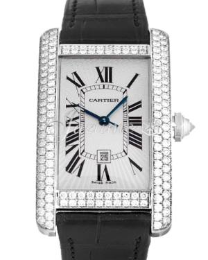 CARTIER WB710002 TANK AMERICAINE 18k WHITE GOLD DIAMONDS BRAND NEW