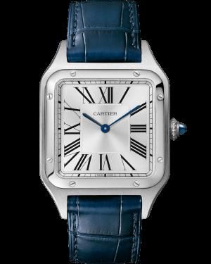 Cartier Santos Dumont Silver Dial Stainless Steel Bezel Blue Leather Strap 38 mm x 27.5 mm WSSA0023 - BRAND NEW