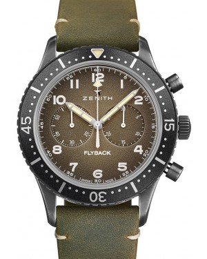 Zenith Pilot Chronograph Bronze Grey Arabic Dial & Leather Strap 11.2240.405/21.C773 - BRAND NEW