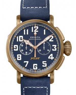 Zenith Pilot Type 20 Chronograph Extra Special Bronze Blue Arabic Dial & Leather Strap 29.2430.4069/57.C808 - BRAND NEW