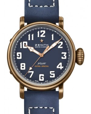 Zenith Pilot Type 20 Extra Special Bronze Blue Arabic Dial & Leather Strap 29.1940.679/57.C808 - BRAND NEW