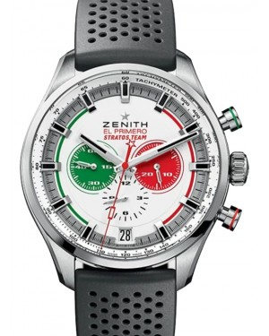 Zenith Stratos Team Chronograph Stainless Steel Silver Index Dial & Rubber Strap 03.2521.400/07.R576 - BRAND NEW