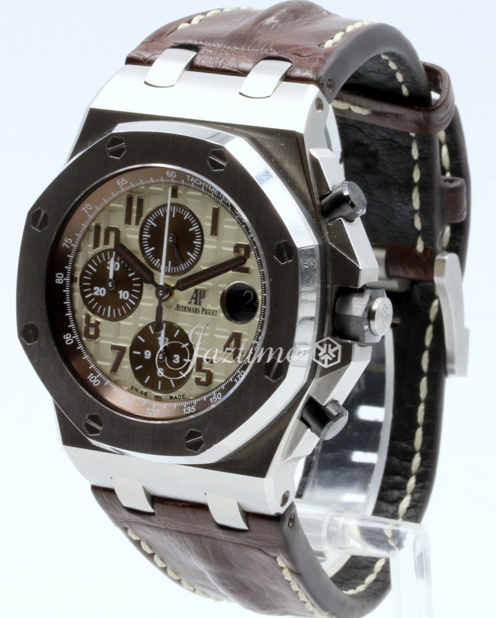 Audemars Piguet Royal Oak Offshore Safari 42mm Ivory Brown Ceramic Steel Chronograph 26470st Oo A801cr 01 Pre Owned