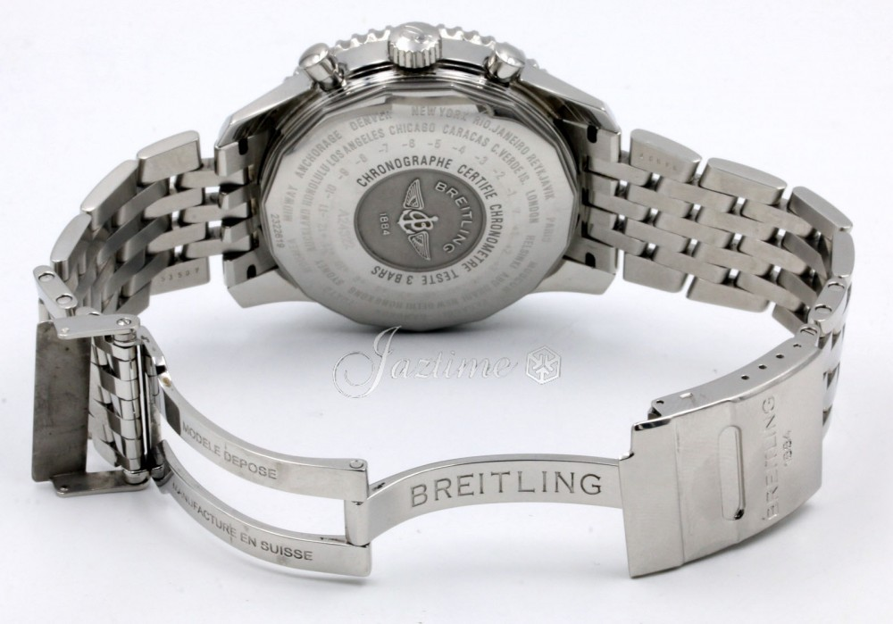 Breitling Navitimer World Gmt A24322 Men S 46mm Black Chronograph Stainless Steel Box Papers