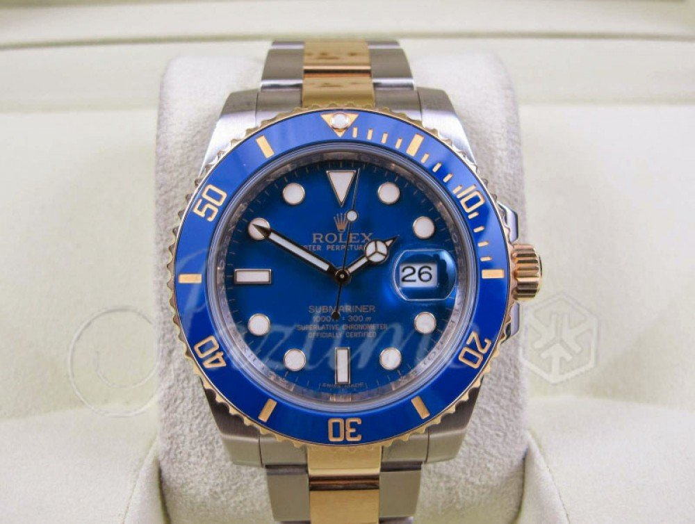 Rolex Submariner Date Yellow Gold/Steel Blue Dial \u0026 Ceramic Bezel Two,Tone  Oyster Bracelet 116613LB , PRE,OWNED
