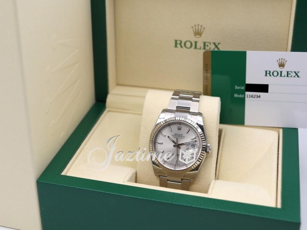 Rolex Datejust 36 White Gold/Steel Silver Index Dial \u0026 Fluted Bezel Oyster  Bracelet 116234 , BRAND NEW