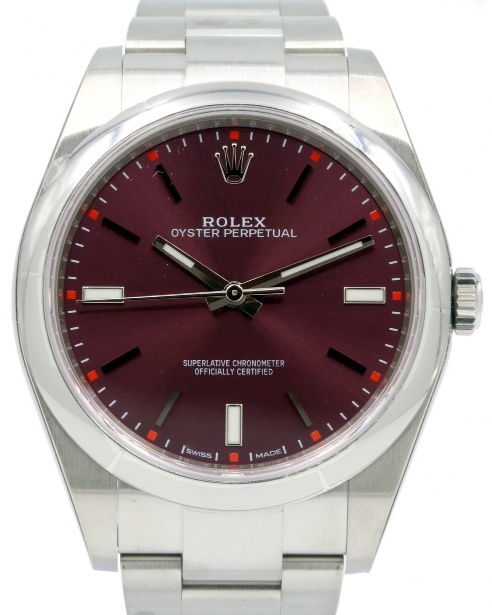 648abc733864a Rolex Oyster Perpetual 39 Stainless Steel Red Grape Index Dial   Smooth  Bezel Oyster Bracelet 114300 - BRAND NEW