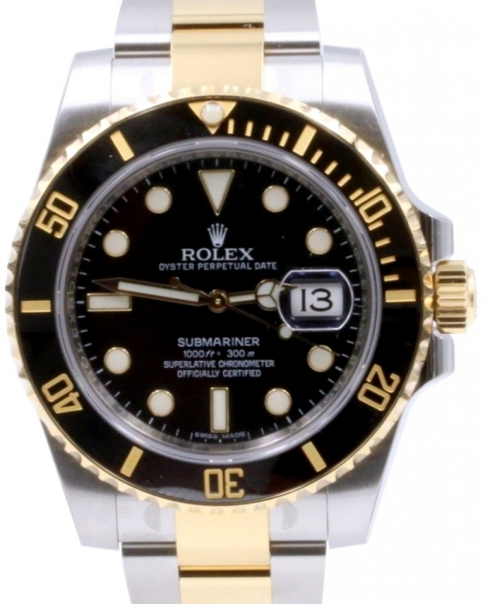 Rolex Submariner Date Yellow Gold/Steel Black Dial \u0026 Ceramic Bezel Oyster  Bracelet 116613LN , BRAND NEW