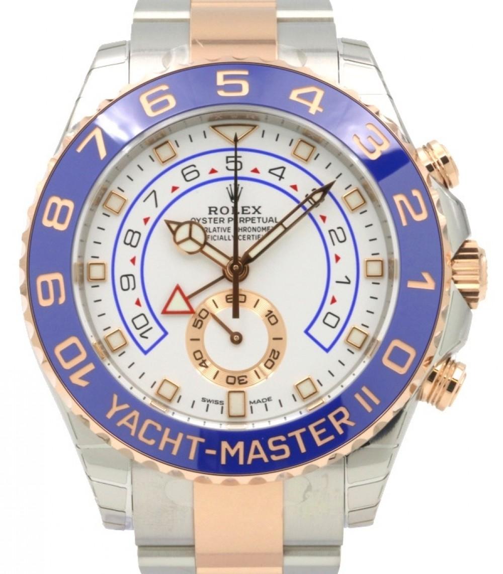 Rolex Yacht,Master II 116681 Blue Ceramic 18k Rose Gold Mercedes Hands  Stainless Steel BRAND NEW