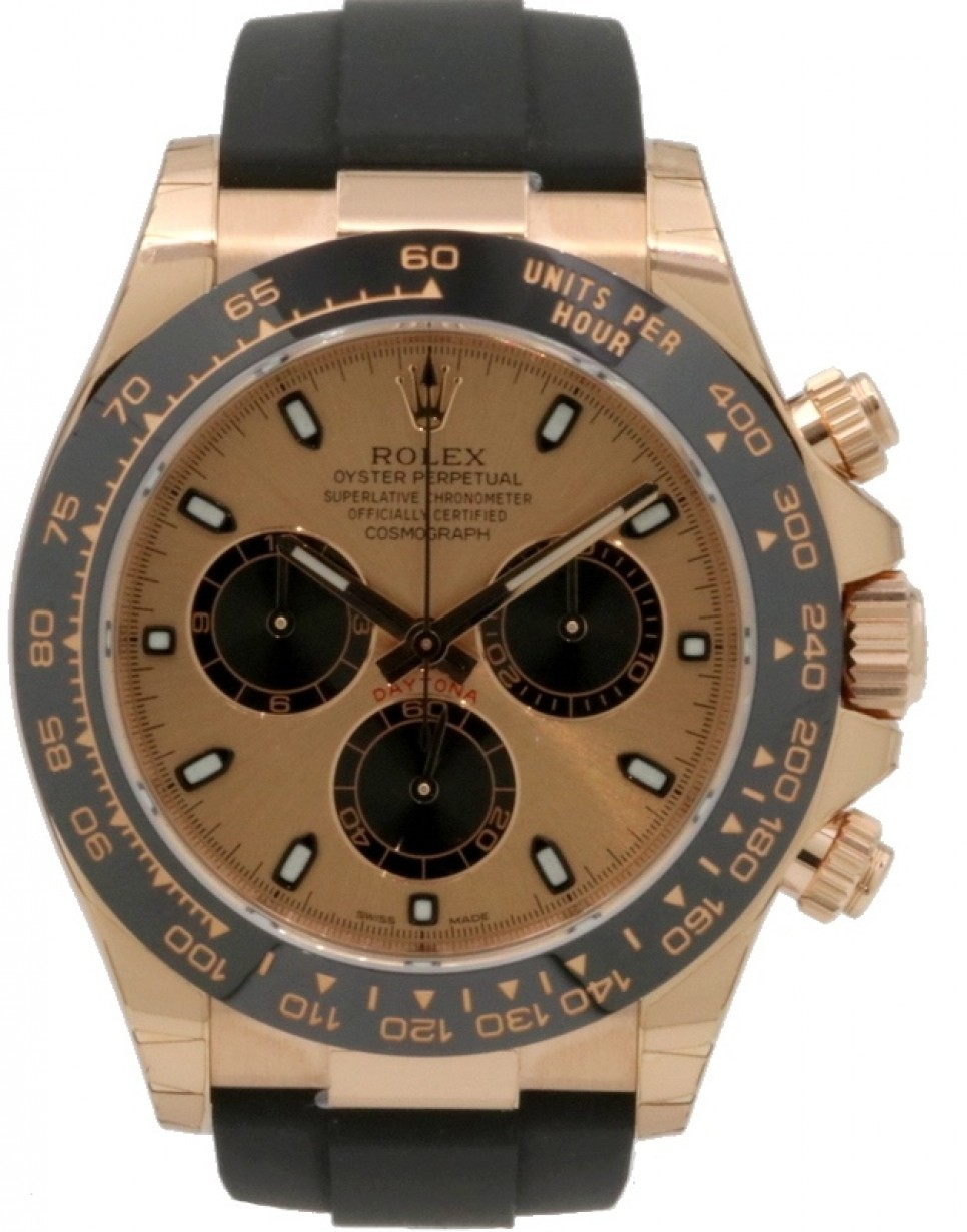 Rolex Cosmograph Daytona 116515LN Pink Index Black Cerachrom Rose Gold Rubber Oysterflex 40mm ...