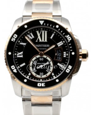 Cartier Calibre Diver W7100054 42mm 18k Rose Gold Stainless Steel BRAND NEW