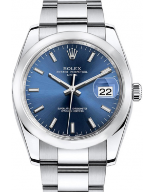 Rolex Oyster Perpetual Date 34 Stainless Steel Blue Index Dial & Smooth Bezel Oyster Bracelet 115200 - BRAND NEW