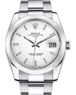Rolex Oyster Perpetual Date 34 Stainless Steel White Index Dial & Smooth Bezel Oyster Bracelet 115200 - BRAND NEW