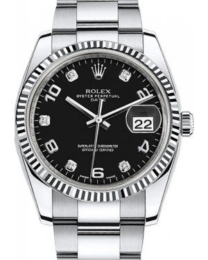 Rolex Oyster Perpetual Date 34 White Gold/Steel Black Arabic / Diamond Dial & Fluted Bezel Oyster Bracelet 115234 - BRAND NEW