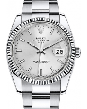 Rolex Oyster Perpetual Date 34 White Gold/Steel Silver Index Dial & Fluted Bezel Oyster Bracelet 115234 - BRAND NEW