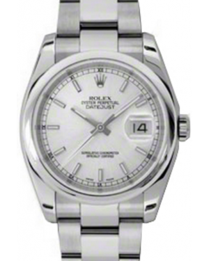 Rolex Datejust 36 Stainless Steel Silver Index Dial & Smooth Bezel Oyster Bracelet 116200 - BRAND NEW