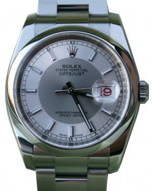 Rolex Datejust 36 Stainless Steel Silver/Steel Index Dial & Smooth Bezel Oyster Bracelet 116200 - BRAND NEW