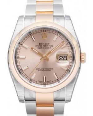 Rolex Datejust 36 Rose Gold/Steel Pink Index Dial & Smooth Bezel Oyster Bracelet 116201 - BRAND NEW