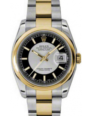 "Rolex Datejust 36 116203-BKSSDO Black and Silver Index ""Tuxedo"" Yellow Gold Stainless Steel Oyster - BRAND NEW"