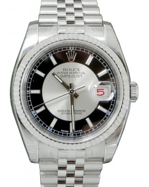 """Rolex Datejust 36 116234-BKSSFJ Black Silver Index """"Tuxedo"""" Fluted White Gold Stainless Steel Jubilee - BRAND NEW"""