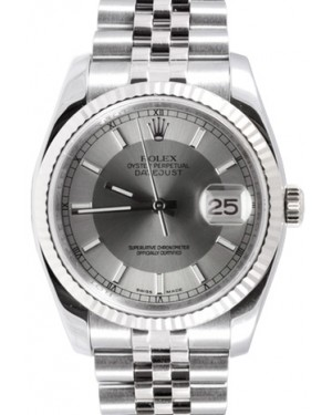 Rolex Datejust 36 116234-STSSFJ Steel and Silver Index Fluted White Gold Stainless Steel Jubilee - BRAND NEW