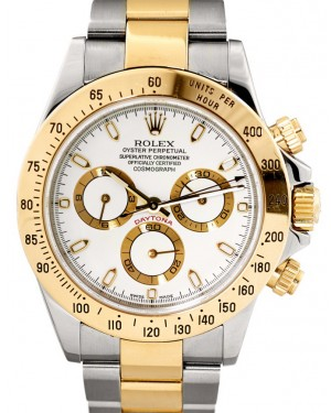 Rolex Daytona 116523 White Chronograph Yellow Gold Stainless Steel BRAND NEW