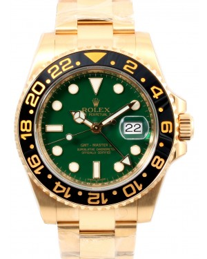 Rolex GMT-Master II Yellow Gold Green Dial & Black Ceramic Bezel Oyster Bracelet 116718LN - PRE-OWNED