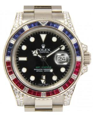 Rolex GMT Master II 116759SARU Ruby Sapphire Diamond 18k White Gold