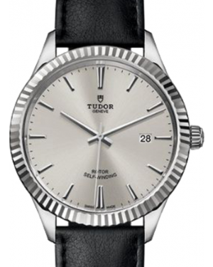 Tudor Style 12710 Silver Index Fluted Stainless Steel Leather 41mm BRAND NEW