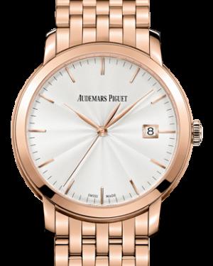 Audemars Piguet 15172OR.OO.1270OR.01 Jules Audemars Selfwinding 39mm Silver Guilloche Index Rose Gold BRAND NEW