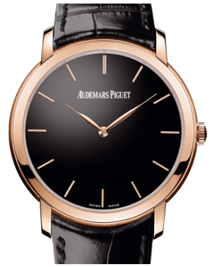 Audemars Piguet 15180OR.OO.A002CR.01 Jules Audemars Extra-Thin 41mm Black Index Rose Gold Leather BRAND NEW