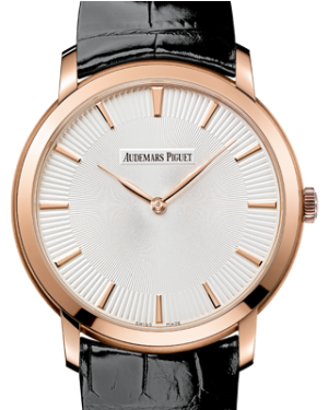 Audemars Piguet 15180OR.OO.A102CR.01 Jules Audemars Extra-Thin 41mm Silver Index Rose Gold Leather BRAND NEW