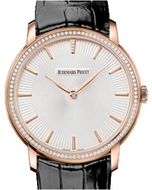 Audemars Piguet 15182OR.ZZ.A102CR.01 Jules Audemars Extra-Thin 41mm Silver Index Diamond Bezel Rose Gold Leather BRAND NEW