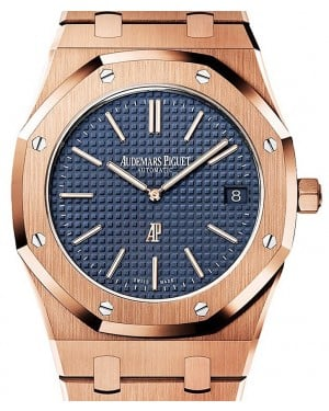 Audemars Piguet Royal Oak Extra-Thin 15202OR.OO.1240OR.01 Blue Index Rose Gold 39mm Automatic - BRAND NEW