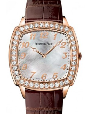 Audemars Piguet 15337OR.ZZ.A810CR.01 Tradition Extra-Thin 41mm White Mother of Pearl Arabic Diamond Bezel Rose Gold Leather BRAND NEW
