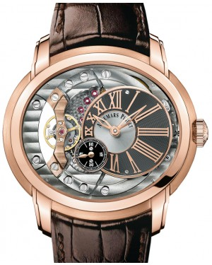 Audemars Piguet 15350OR.OO.D093CR.01 Millenary 4101 47mm Anthracite Skeleton Roman Rose Gold Leather BRAND NEW