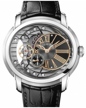 Audemars Piguet 15350ST.OO.D002CR.01 Millenary 4101 47mm Black Anthracite Skeleton Roman Stainless Steel Leather BRAND NEW