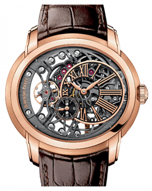 Audemars Piguet 15352OR.OO.D093CR.01 Millenary Openworked 47mm Black Skeleton Roman Rose Gold Leather BRAND NEW