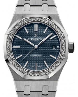 Audemars Piguet Royal Oak Selfwinding 15451ST.ZZ.1256ST.03 Blue Index Diamond Bezel Stainless Steel 37mm Automatic - BRAND NEW