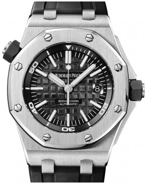 Audemars Piguet 15703ST.OO.A002CA.01 Royal Oak Offshore Diver 42mm Black Index Stainless Steel Rubber Automatic BRAND NEW