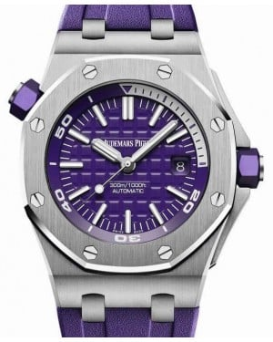 Audemars Piguet Royal Oak Offshore Diver 15710ST.OO.A077CA.01 Purple Index Stainless Steel Rubber 42mm BRAND NEW
