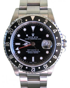 Rolex GMT-Master II 16710 Men's 40mm Black Stainless Steel Oyster Date No Holes