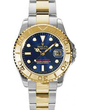 Rolex Yacht-Master 35 168623-BLU Blue White Dial Yellow Gold Bezel Yellow Gold Stainless Steel Oyster - BRAND NEW