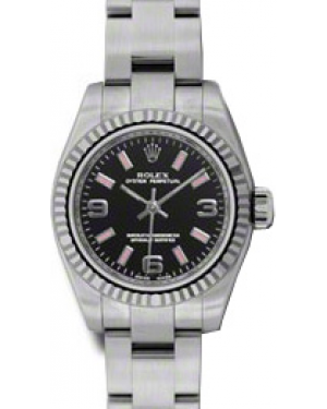 Rolex Lady-Datejust 26 176234-BKPAFO Black Arabic Index Fluted White Gold Brushed Stainless Steel Oyster - BRAND NEW