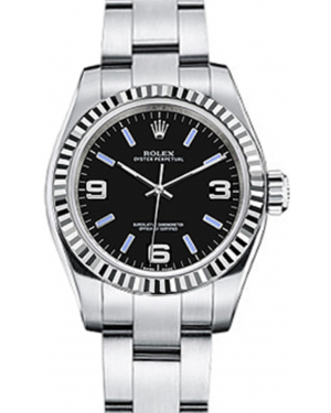 Rolex Oyster Perpetual 26 Ladies White Gold/Steel Black Arabic / Blue Index Dial Fluted Bezel & Oyster Bracelet 176234 - BRAND NEW