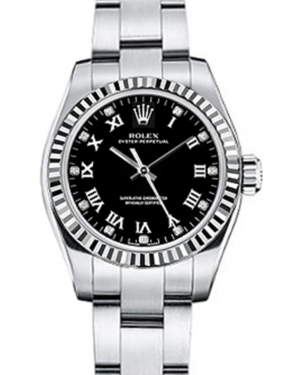 Rolex Oyster Perpetual 26 Ladies White Gold/Steel Black Roman / Diamond Dial Fluted Bezel & Oyster Bracelet 176234 - BRAND NEW