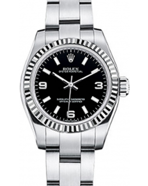 Rolex Oyster Perpetual 26 Ladies White Gold/Steel Black Arabic / Index Dial Fluted Bezel & Oyster Bracelet 176234 - BRAND NEW